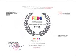 Publication des Résultats des Examens de la Session d'Octobre 2017 Prix d'Excellence de la fede à MIAGE Casa